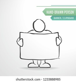 Simple skech man, vector hand-drawn person with clipboard