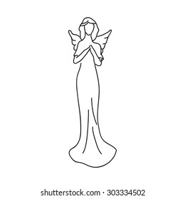 Simple sketch of an angel, a female figure with wings
