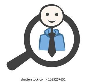 simple sketch of a businessman inside a magnifier.