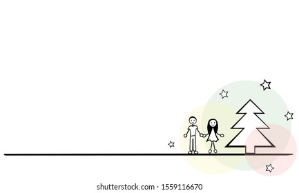 Simple sketch of a couple with a fir tree and stars for a Christmas card. The image is blank for your own text.