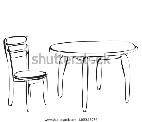 Simple Sketch Table Chair Stock Vector (Royalty Free) 1355833979