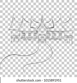 Simple Sketch of West Sumatera Traditional Building, at Transparent Effect Background