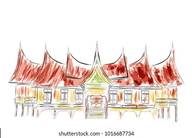 Simple Sketch of West Sumatera Traditional Building with water color effect