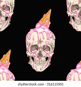 Simple skull with ice cream.Black background.Seamless pattern background