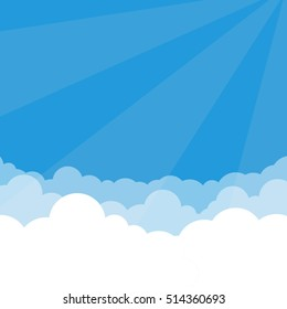 Simple Sky and Clouds vector illustration with perspective effect. You can use it as a background and place your text.