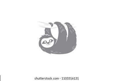 Simple sleeping cute sloth
