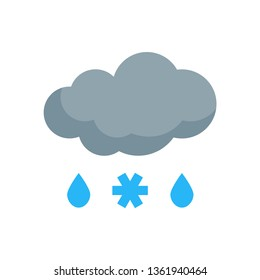 Simple sleet icon in flat style. Vector meteo pictogram of raining and snowing weather.