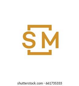Simple SM initial Logo designs template vector illustration