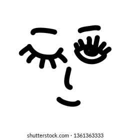 Simple smile face. Open and winking eyes. Vector illustration.