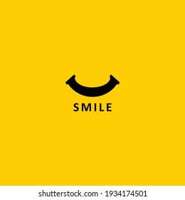 simple smiling flat icon logo
