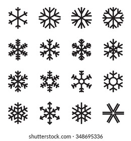 Simple snowflake icons. Symbols of winter, frost, snow, freezer, refrigerator, frozen food. Vector illustration. Variant with square ends