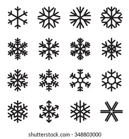 Simple snowflake icons. Symbols of winter, frost, snow, freezer, refrigerator, frozen food. Vector illustration. Variant with rounded ends