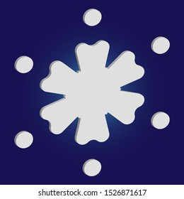 Simple snowflake with shadow on blue background. Vector illustration - postcard. Effective concept with expressive forms and colors. White New Year and Christmas 3d ornament for banner or cards.