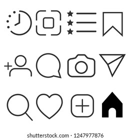 Simple social media icon set, vector illustration. Network concept.
