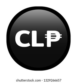 Simple soft Black Currency symbols icon : Chile's Chilean peso CLP circle money coin button with inner shadow illustration in vector