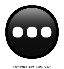Simple soft Black Mathematical Symbols sign of ... ellipsis signal circle button with inner shadow illustration in vector