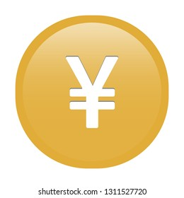 Simple soft Gold Currency symbols icon : Japanese Yen JPY circle money coin button with inner shadow illustration in vector