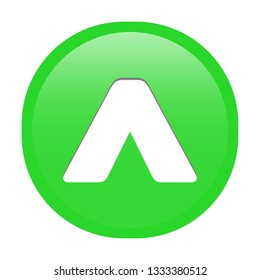 Simple soft Green Mathematical Symbols sign of ˆ caret or to the power signal circle button with inner shadow illustration in vector