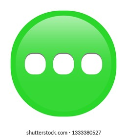 Simple soft Green Mathematical Symbols sign of ... ellipsis signal circle button with inner shadow illustration in vector