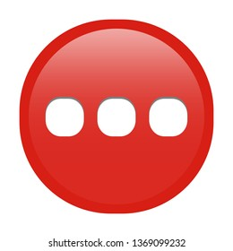 Simple soft red Mathematical Symbols sign of ... ellipsis signal circle button with inner shadow illustration in vector