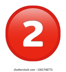 Simple soft Red number 2 two button with inner shadow illustration in vector
