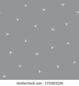 Simple soft vector repeat pattern with flying dandelion seeds on grey background.