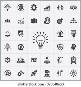 Simple solution icons set. Universal solution icon to use for web and mobile UI, set of basic solution elements