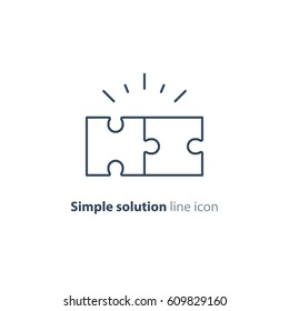 Simple solutions concept, compatibility line icon, assemble puzzle pieces, solving problem