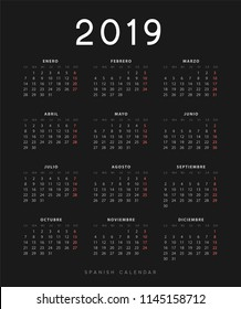 Simple spanish calendar for 2019 years, week starts on Monday. Design calender on black background