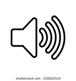 Simple speaker volume icons line with sound waves, logo isolated on white background