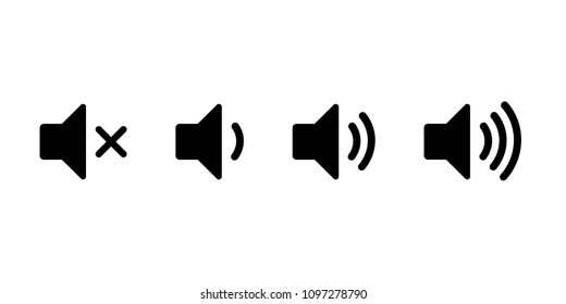 Simple speaker volume icons with sound waves, vector illustration