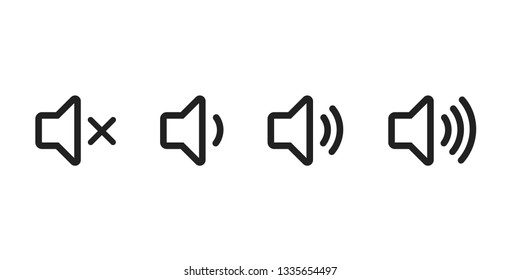 Simple speaker volume icons with sound waves