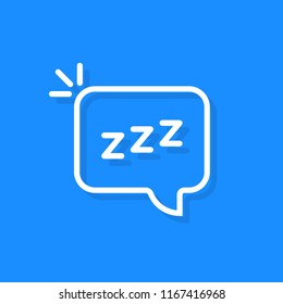 simple speech bubble with linear zzz logo. flat stroke style trend modern logotype graphic thin line art design isolated on blue background. concept of funny snoring sign for web and napping icon