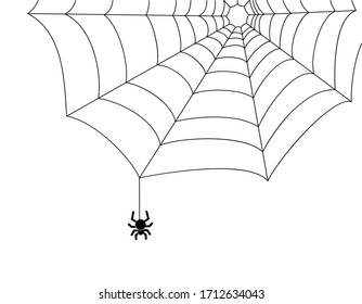 A simple spider on a web in the corner. Black and white vector illustration. The decor element is isolated on a white background. A dangerous insect, arthropod, frightening all the people