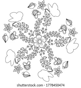 Simple Spring Coloring Page. Ornate mandala with abstract flowers leaves and butterfly. Black and White outline. Zentangle inspired pattern for coloring book page for adults and kids.
