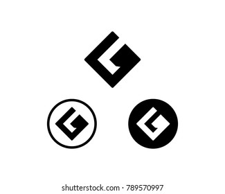 Simple Square and Circle Initial Name Letter GL or LG Modern Symbol Flat Logo Vector