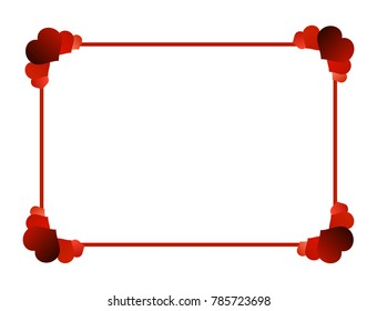 Simple square frame with colorful red hearts