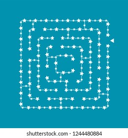 Simple square maze - starry sky. Game for kids. Puzzle for children. One entrance, one exit. Labyrinth conundrum. Flat vector illustration isolated on turquoise background. With place for your image