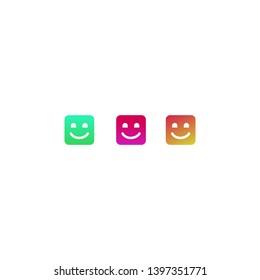 simple square smile icon for desktop, website or logo