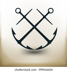 simple square symbol of two crossed anchors on beige background