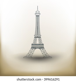 simple square symbol vertical Eiffel Tower on beige background