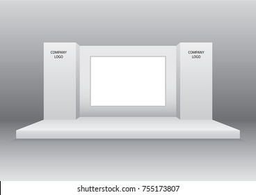 simple stage with blank screen