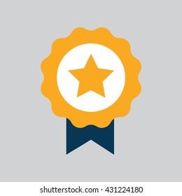Simple Star Ribbon Medal Icon