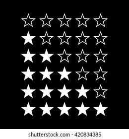 Simple Stars Rating. White Shapes on Black Background for Web Design