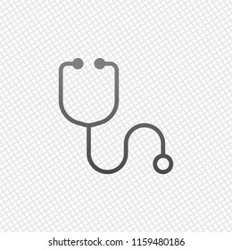 Simple stethoscope icon. Linear, thin outline. On grid background