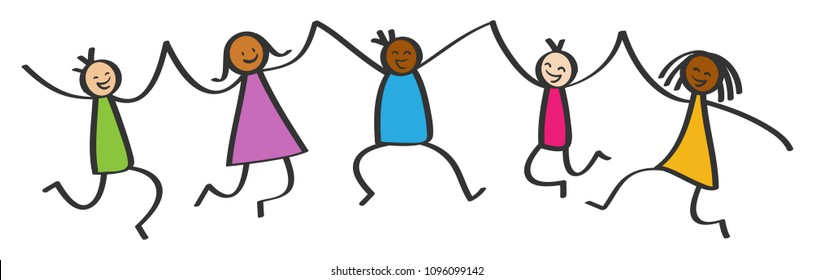 Simple stick figures, five happy multicultural kids jumping, holding hands, smiling and laughing isolated on white background