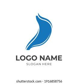 simple stomach logo design flat blue color style
