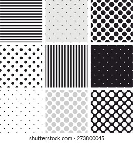 Simple striped and polka dots vector pattern set, seamless grey, black and white backgrounds