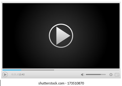 Simple and style light video player for web with one button play pause. All elements are conveniently grouped.