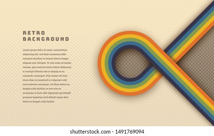 Simple style retro background design with rounded striped element in color. Vector illustration.